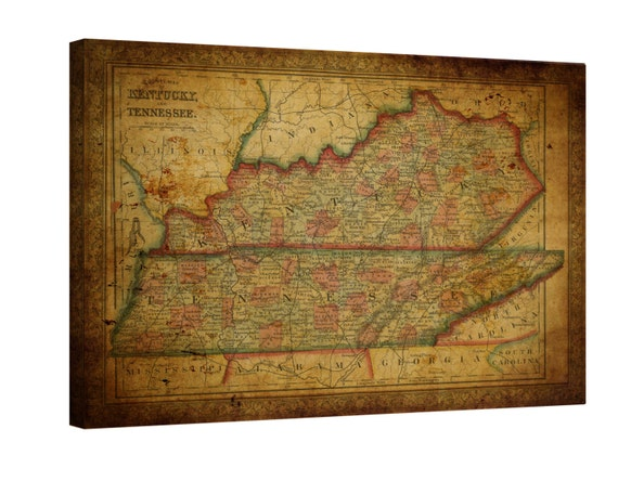 LARGE wrapped stretched old Kentucky map Tennessee map  canvas wall art ,Giclee Art fine art