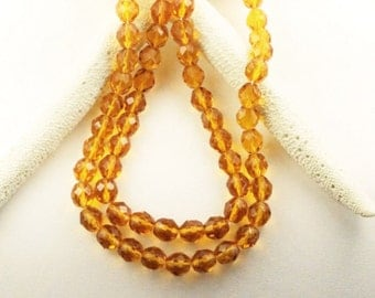 6mm Czech topaz crystal beads, faceted crystal beads, topaz czech beads, 6mm Amber crystal beads,32 beads, ships from USA