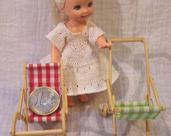 Stroller wooden fully articulated doll / 10th and 12th