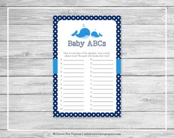 Whale Baby Shower Baby ABCs Game - Printable Baby Shower Baby ABCs Game - Blue Whale Baby Shower - Baby ABCs Game - Baby Shower Game - SP127