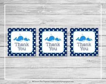 Whale Baby Shower Favor Thank You Tags - Printable Baby Shower Thank You Tags - Blue Whale Baby Shower - Whale Favor Tags - SP127