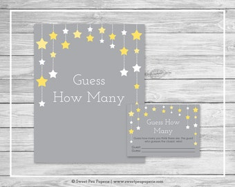 Twinkle Little Star Baby Shower Guess How Many Game - Printable Baby Shower Guess How Many Game - Twinkle Little Star Baby Shower - SP117