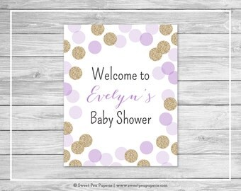 Purple and Gold Baby Shower Welcome Sign - Printable Baby Shower Welcome Sign - Purple and Gold Glitter Baby Shower - EDITABLE - SP109