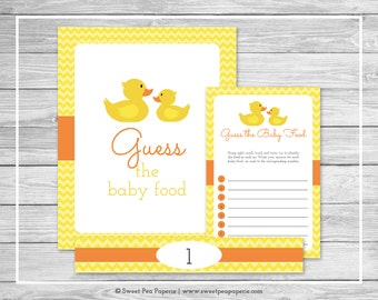 Rubber Ducky Baby Shower Guess The Baby Food Game - Printable Baby Shower Guess Baby Food Game - Rubber Duck Baby Shower - SP121