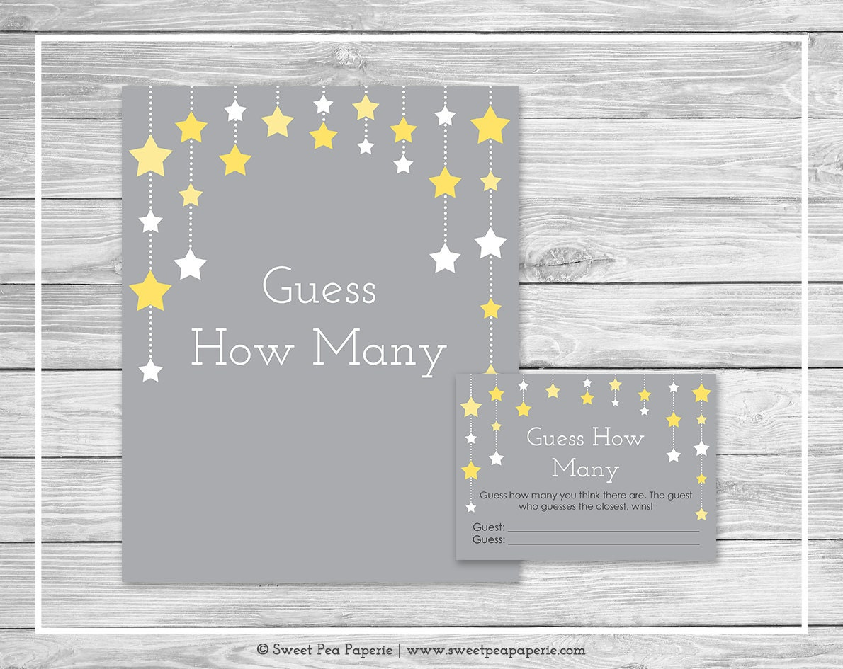 Baby Showers How Many ~ Twinkle little star baby shower guess how many game