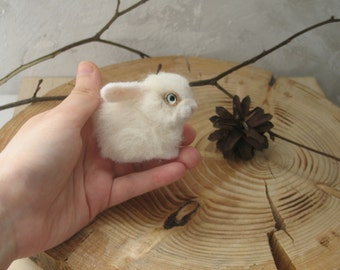 the small white rabbit, needle felting, brooch.