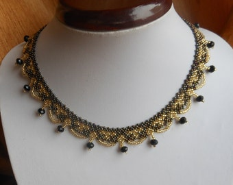 Beaded Jewelry, Beaded necklace,   brown necklace, bib necklace, small necklace collar necklace ,