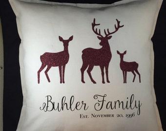Christmas Pillow, Christmas Decoration, Personalized Christmas Gift, Christmas Outdoor, Christmas Deer Pillow, Personalized Christmas Pillow