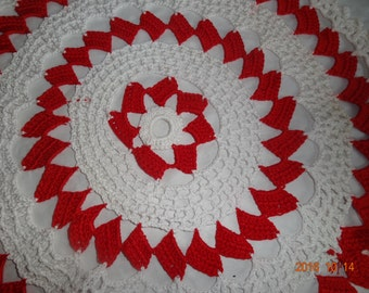 Doily lace white/red
