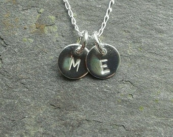 """2 Handmade 925 Sterling Silver Personalised Initial Charm -Discs & 18"""" Silver Chain Necklace Pendant."""