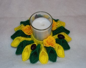 green and yellow 2  candle holder