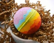 Rainbow Bathbomb Medium, Medium Bathbomb, Rainbow Bath Bomb, Bathbomb, Pride Gift, Wedding Favor Gift, Bath Fizzy, Large Bahbomb, Bathbombs