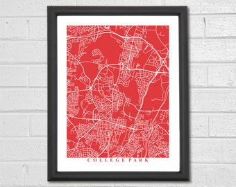 College Park Map Art - Map Print - Maryland - Map Print - Home Map - University of Maryland - Map Art - Housewarming Gift - Travel Gift