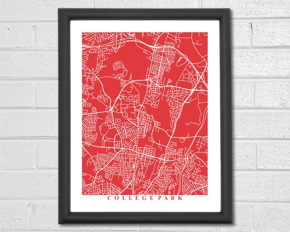 College Park Map Art Map Print Maryland Map Print Home