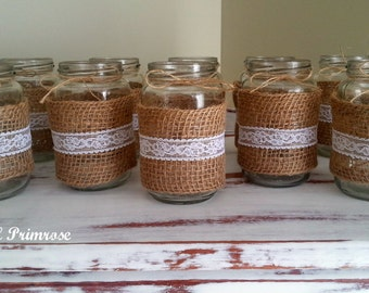 Rustic natural burlap and lace mason jars. Set of 10. Wedding decorations/centrepieces. White lace. Rustic wedding. Vintage