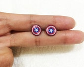 CAPTAIN AMERICA EARRINGS - Earrings Handmade,Captain America Jewelry,Captain America Stud Earrings,Captain America Resin Jewelry,Super Hero