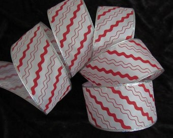 """2.5"""" x 10 YARD Red and White Sheer Ribbon, wired-edge"""