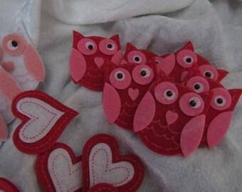 Set of 12 cute felt owl and 12 felt hearts  stickers