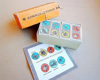 "Children's domino ""Insects"", kids vintage soviet dominoes game"