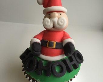 Santa Clause Christmas fondant cake topper / cupcake topper