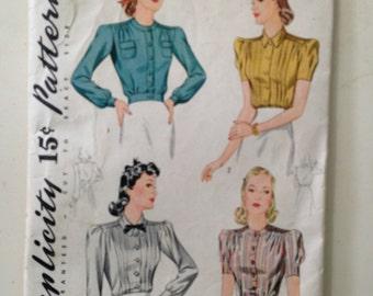 Size 18 Bust 36 Simplicity Vintage Misses'/Women's Blouse Pattern