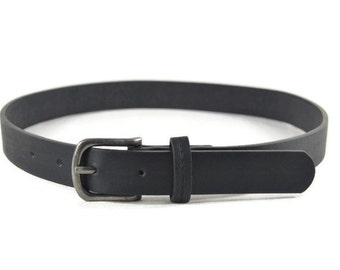 Boys Black Leather Belt with Buckle