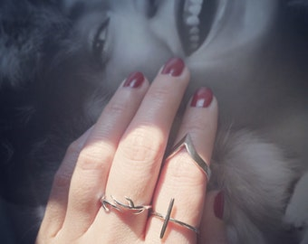 Silver Cross Ring 925 Silver Cross Ring Christmas Gift Holiday Gift Knuckle Ring Open Ring Adjustable Ring Simple Elegant Wedding Ring