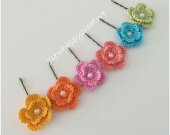 Flower Hair Pins Crochet Flower set of 2 any colour Girls Ladies Floral Crochet Hair Clips Wedding Bridesmaids floral bobby hair pins .