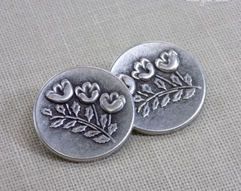 Vintage Flower Buttons Set of 2 metal buttons 7/8 inch