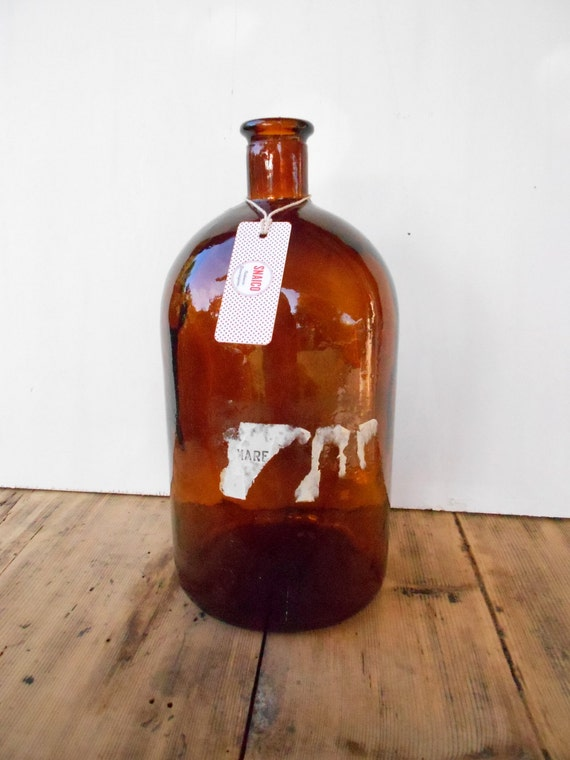 Brown glass bottle/Big amber-Vintage