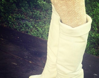 Vintage 70's White Leather Spike Heel Slouch Boots Hippie Boho Gypsy Style Size 7.5