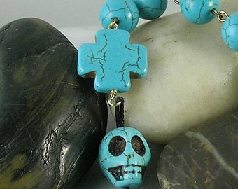 Turquoise Skull Cross Tenner - Memento Mori - Aztec Mayan - New World