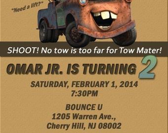 Disney Cars Toy Mator Birthday Invitation, Digital or Printed