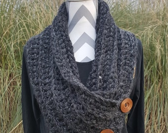Button Cowl Scarf – Cowl Wrap – Button Wrap – Wool and Acrylic Blend – Handmade - Crochet