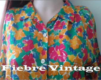 SHIRT TOP VINTAGE years 80's hipster geek tunic jacket colored flowers
