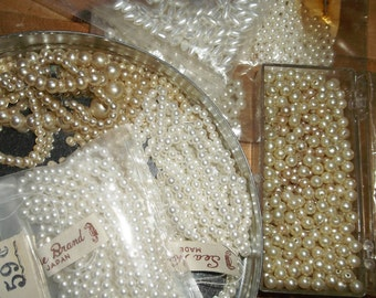 Vintage lot of Small Faux Pearl beads