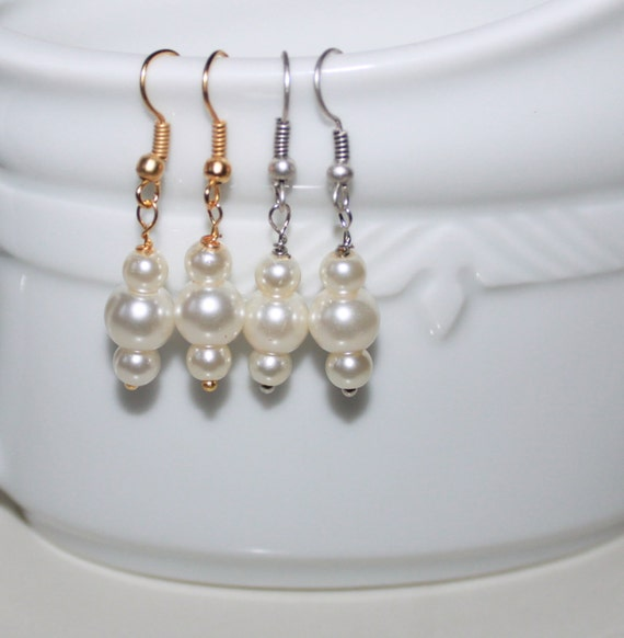 SALE-Ivory Pearl Drop Earrings-Silver filled/Gold by ...