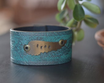 "handstamped leather cuff bracelet ""free"" wings"