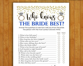 Bridal Shower Game Download - Who Knows the Bride Best - Dodger Blue and Gold - Instant Printable Digital Download - diy Shower Printables