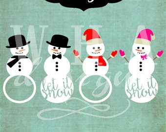 Christmas Monogram frames Snowman Santa Hat Vector - Cutting File - Graphic Design - svg jpg png eps dxf download