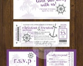 Cruise Ticket wedding invitation, Boat Ticket, Destination Wedding Invitation, Luggage Tag Wedding Invitation, Ship ticket wedding invites