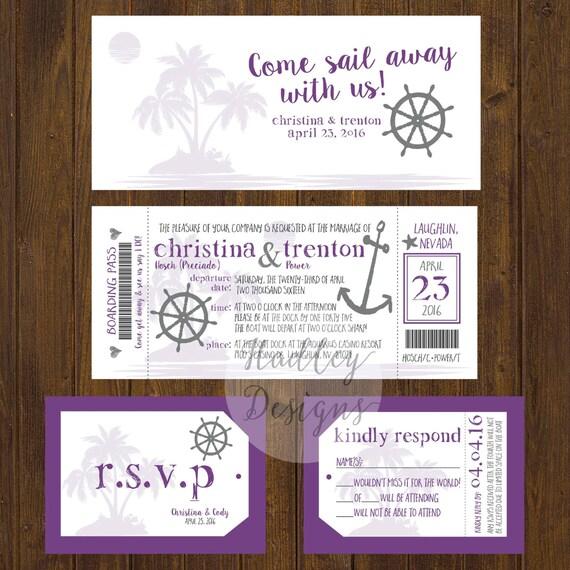 Cruise Ticket Wedding Invitation Boat Ticket Destination