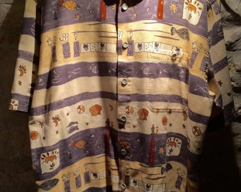 1990's Casa Moda bohemian short sleeves cotton shirt. Size L.
