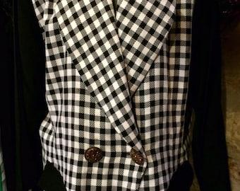 1980's Joseph Ribkoff plaid loose jacket, shoulder pads. Size M.