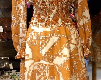 1960's MOD geometric pattern dress. Size S.