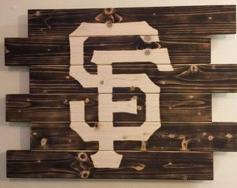 San Francisco Giants baseball charred wood sign