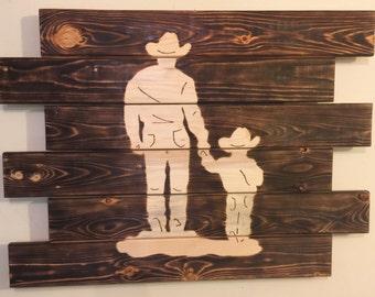 Cowboy man cave wood sign charred rustic