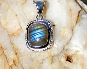 Labradorite & Sterling Silver Rectangle Pendant - #96