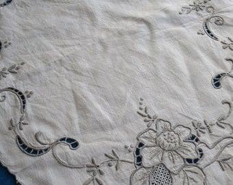 Antique Edwardian Linen Topper- Madeira Hand Embroidery