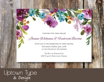 Purple Floral Wedding Invitation_Watercolor_DIY Printable